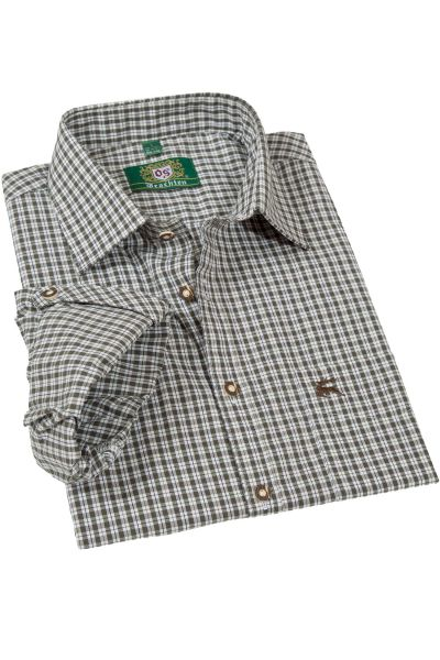 Trachtenhemd in Karo dunkelgrün mit Krempelarm