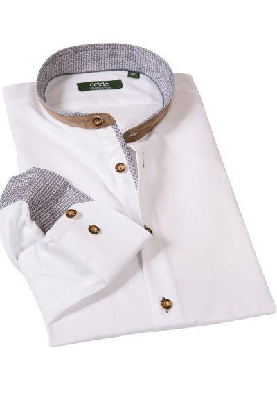 Trachtenhemd in weiß mit braunen Details