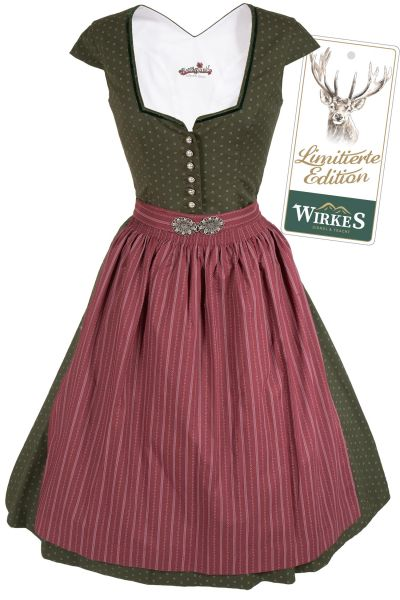 Midi Dirndl Rosalia in moosgrün mit Ärmel Limited Edition
