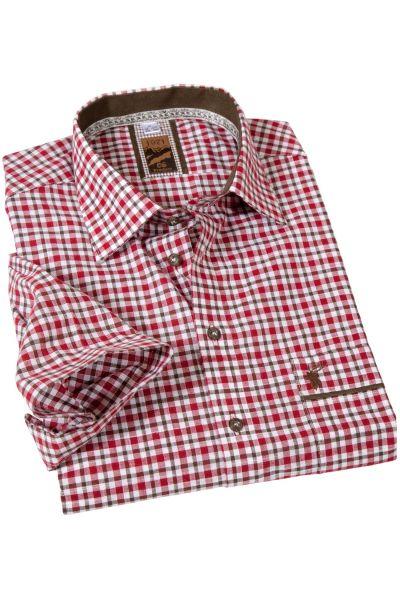 Kurzarm Trachtenhemd in rot braun kariert
