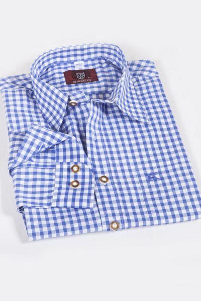 Trachtenhemd kariert blau weiß mittelgroß 1