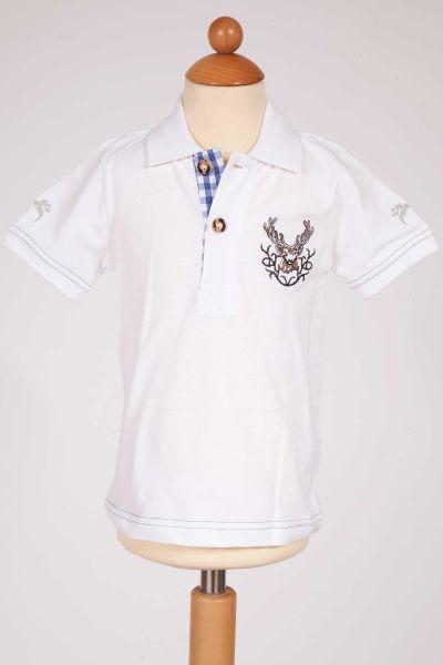 Kinder Trachten Poloshirt in weiß