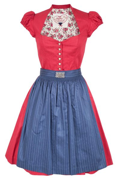 Mini Dirndl Emilia traditionell in rot mit Ärmeln