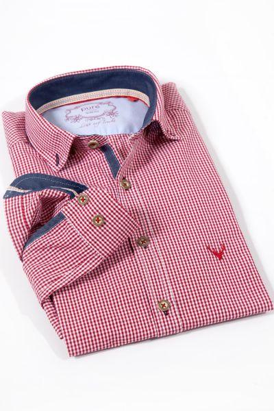 Trachtenhemd von pure in Vichykaro rot weiß kariert