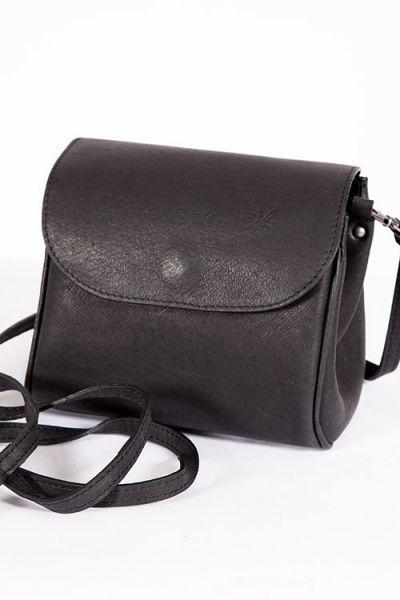 Trachtentasche Crossbody in schwarz aus echtem Leder