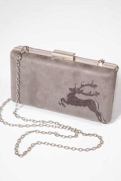 Trachten Clutch als Trachtentasche zum umhängen in grau
