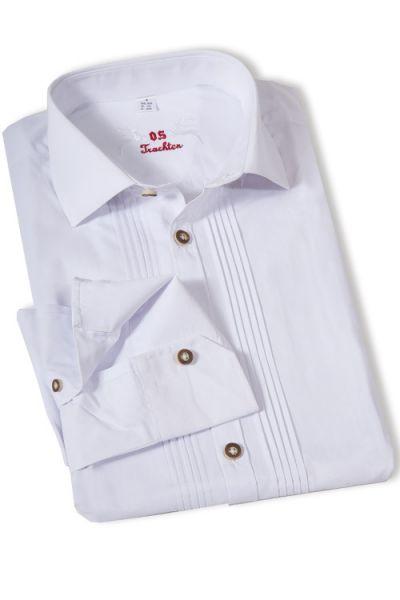 Trachten Hemd für Herren in weiß mit Biesen klassisch