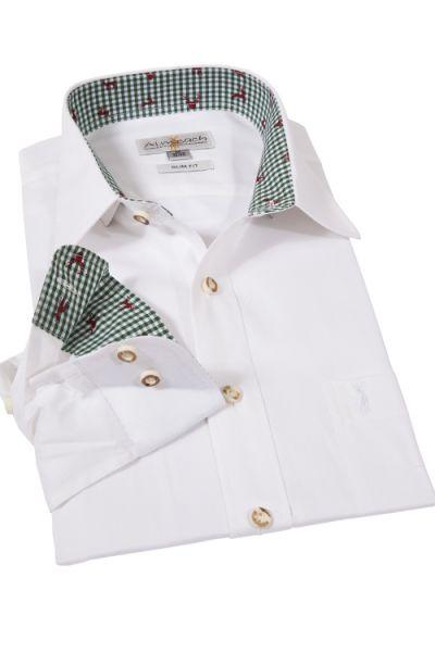 Trachtenhemd in weiß und grün von Almsach mit Slim Fit Passform