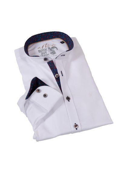Trachtenhemd in weiß Struktur mit Stehkragen