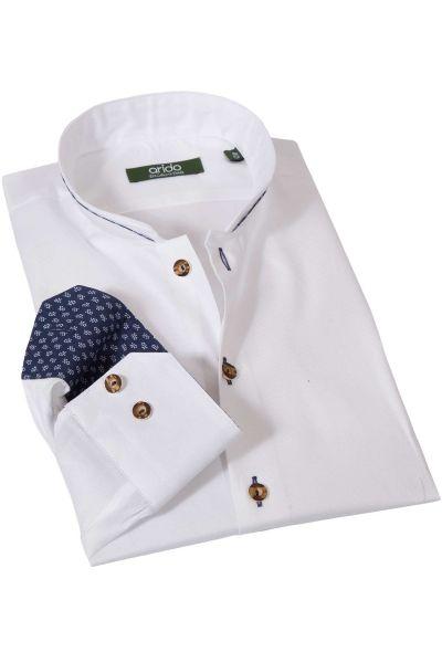 Weißes Herrenhemd aus Strukturstoff mit Stehkragen