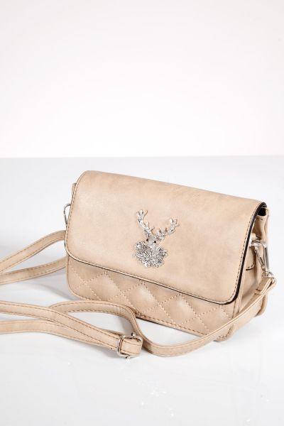 Trachtentasche mit Hirsch in beige  zum umhängen