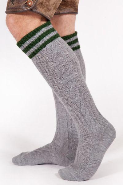 Trachten Kniestrumpf in grau und dunkelgrün