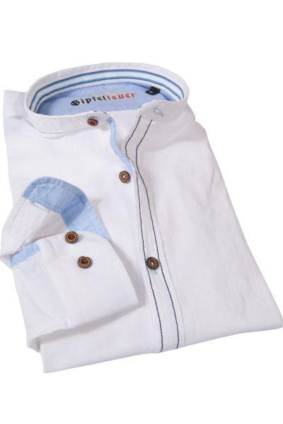 Fesches Trachtenhemd in weiß mit blauen Nähten