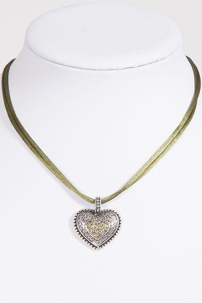Trachtenkette / Dirndlkette mit Satinband in oliv und silbernem Herz