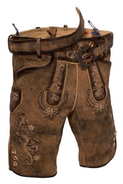 Kurze Lederhose in braun antik used mit Gürtel