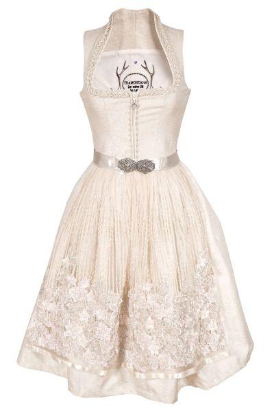Brautdirndl in creme mit Perlen und 3D Blüten