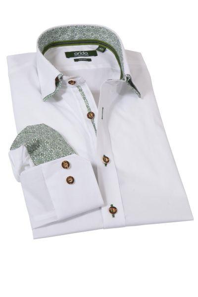 arido Trachtenhemd in weiß mit grün Slim Fit