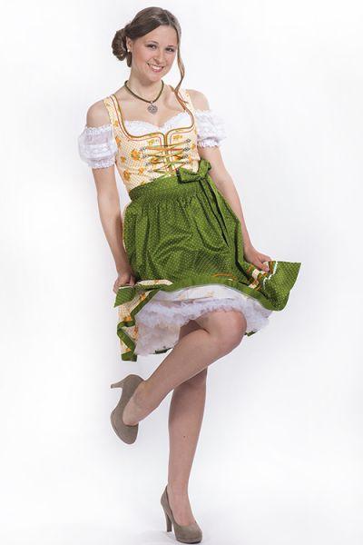 freches Minidirndl Rosi Dirndl orange grün günstig