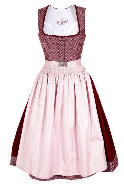 Midi Dirndl in rosé und bordeaux mit Silberknöpfen