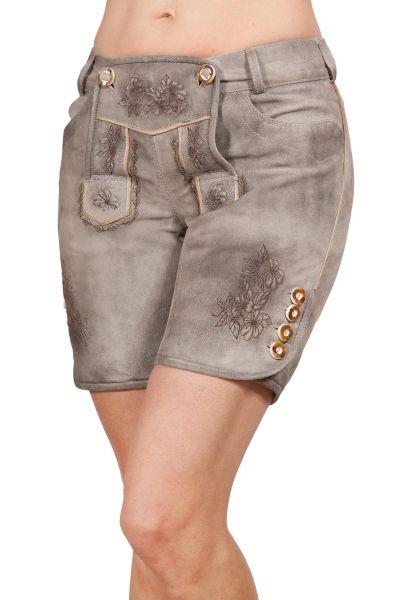 Kurze Lederhose Damen in grau mit Latz