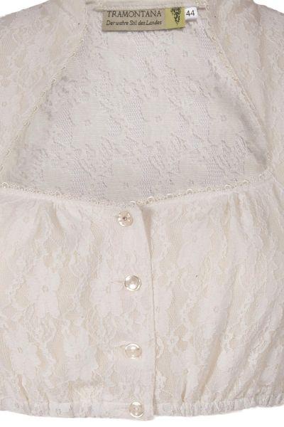 Dirndlbluse in creme aus Spitze mit Kelchkragen Detail