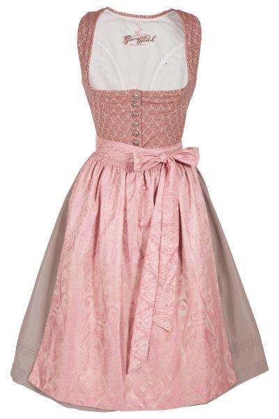 Midi Dirndl Kathi in rosa mit Silberknöpfen