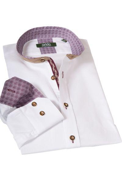 Weißes Arido Trachtenhemd mit weinroten Details