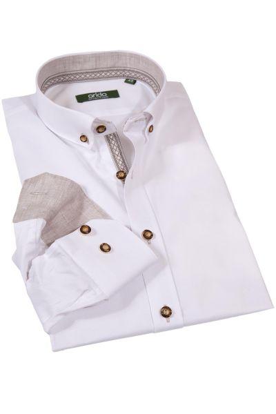 Trachtenhemd von arido in weiß mit Leinen
