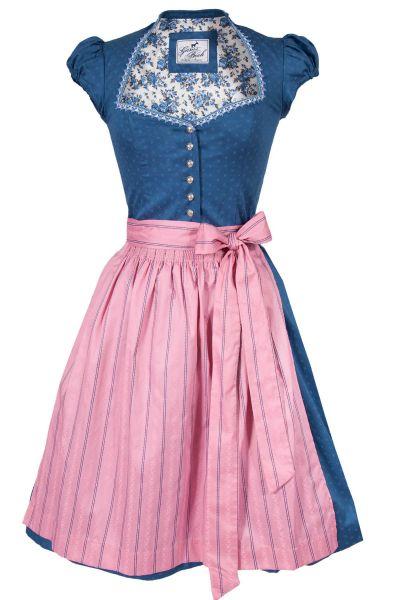 Midi Dirndl Emilia in blau und rosa mit Ärmel