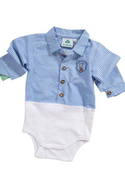Baby Trachten body als Hemd Body in blau kariert