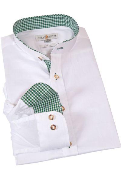 Trachtenhemd Slim Fit in weiß mit grün kariertem Stehkragen
