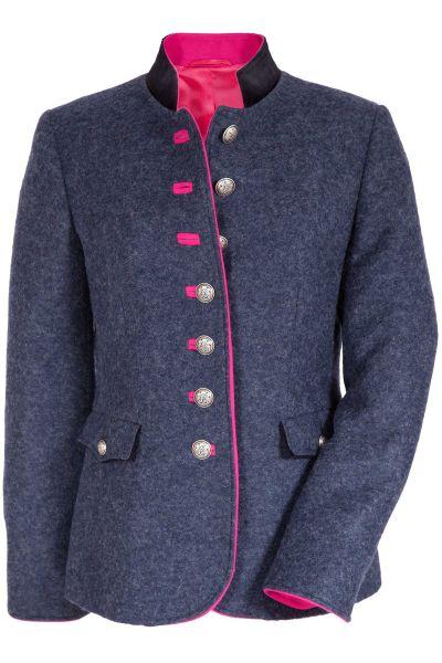 Damen Trachtenjanker aus Loden in dunkelblau und pink