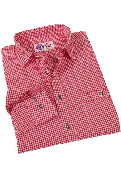 Trachtenhemd rot weiß kariert FC Bayern Edition