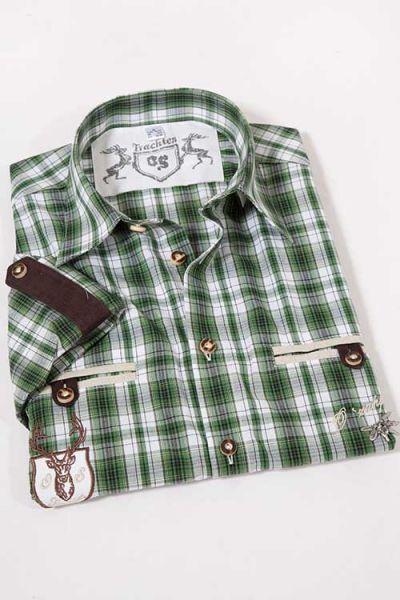 Trachtenhemd Landhaus in grün weiß kariert
