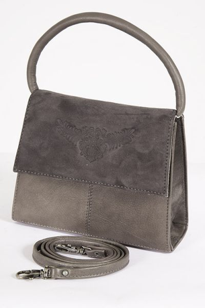 Elegante Trachtentasche in taupe aus echtem Leder