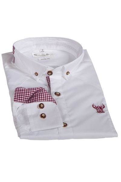 Gweih & Silk Trachten Hemd weiß rot kariert 1
