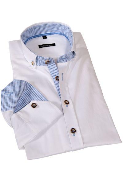 Trachtenhemd edel in weiß mit blauen Details