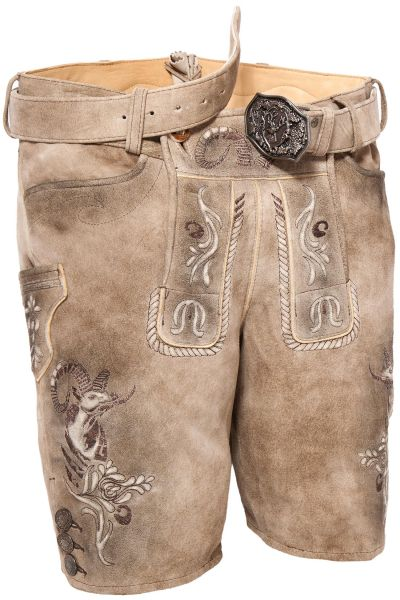Kurze Lederhose New Zealand in sand grau