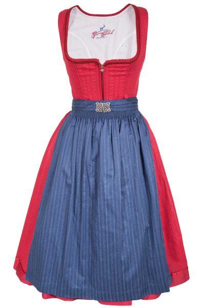 Midi Dirndl Lena aus Baumwolle in rot und blau