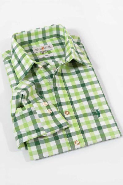 Trachtenhemd kariert in grün und hellgrün von Almsach