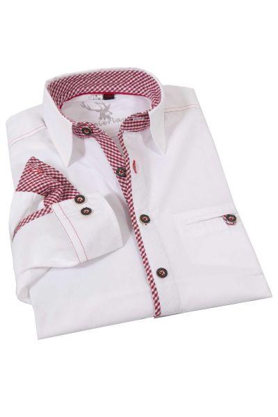 Weißes Trachtenhemd Golo mit roten Details