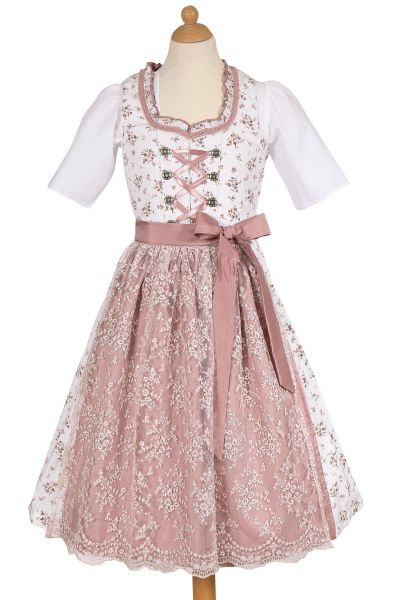 Kinderdirndl in weiß mit rosa Spitzenschürze