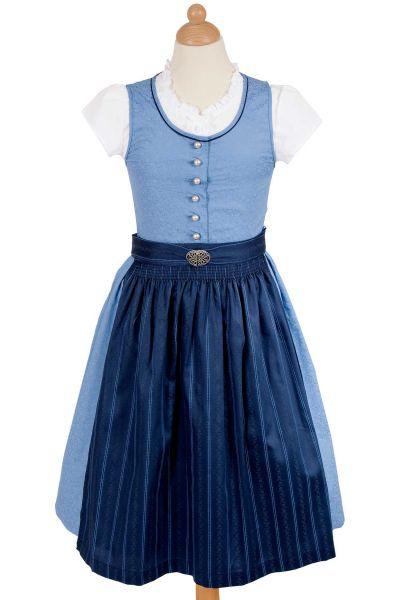 Kinder Dirndl inkl Bluse und Schürze in blau und dunkelblau