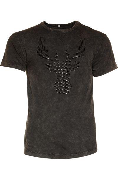 Trachten T-Shirt Fredl in schwarz mit Hirsch