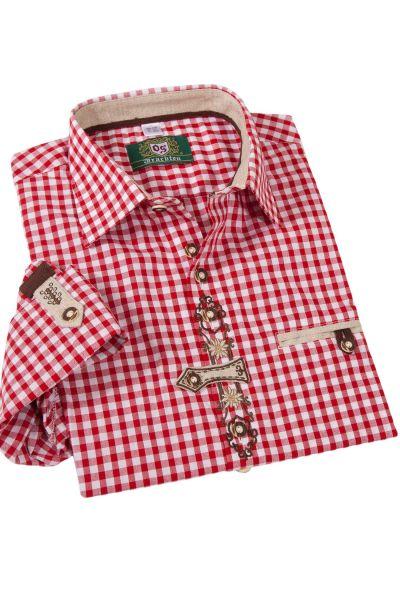 Herren Landhaus Trachtenhemd rot weiß