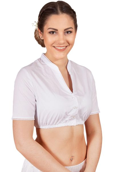 Dirndlbluse in weiß mit V-Ausschnitt und Stehkragen