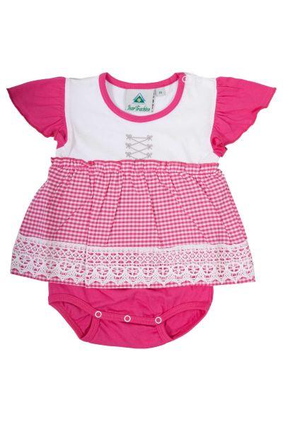 Baby Body weiß pink im Dirndl Style