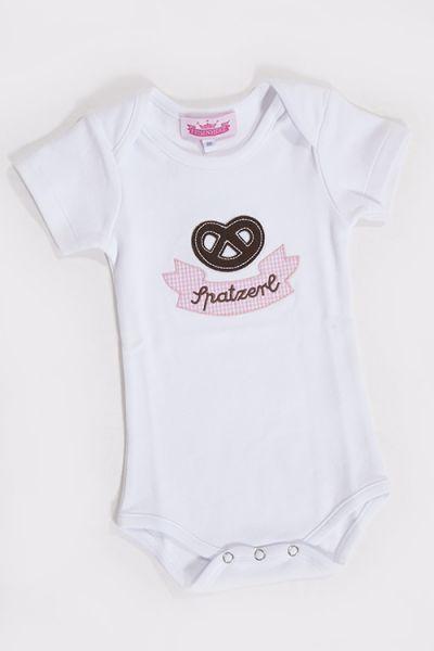 Baby Kurzarm Body in weiß mit Breze und rosa Aufschrift Spatzerl