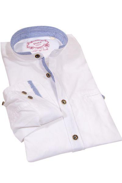 Herren Trachtenhemd in weiß mit Stehkragen