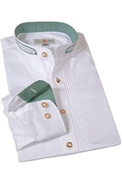 Trachtenhemd in weiß mit grüner Stickerei